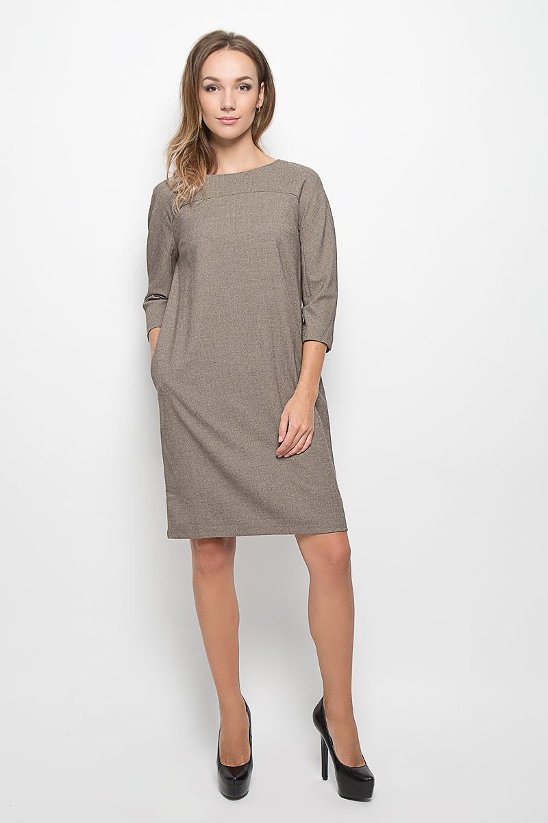 Платье Baon, цвет: коричневый, бежевый. B456. Размер S (44)B456Стильное платье Baon, изготовленное из высококачественного комбинированного материала, поможет создать привлекательный образ. Материал изделия мягкий, тактильно приятный, позволяет коже дышать. Изделие дополнено тонкой подкладкой.Модель с круглым вырезом горловины и цельнокроеными рукавами длиной 3/4. По спинке изделие закрывается на потайную застежку-молнию. Платье-миди дополнено втачными карманами в боковых швах. Такое платье будет дарить вам комфорт в течение всего дня, и послужит замечательным дополнением к вашему гардеробу.