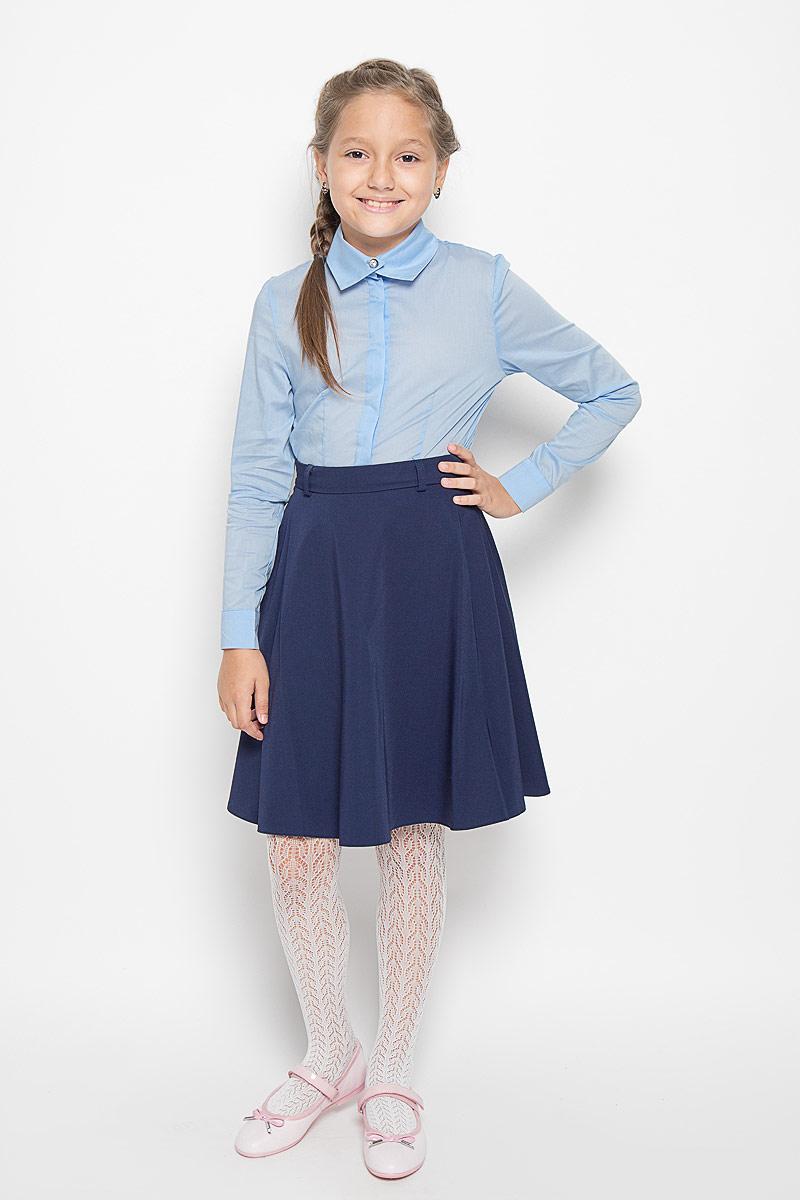 Блузка для девочки Nota Bene, цвет: голубой. CWR26014A. Размер 128CWR26014A/CWR26014BБлузка для девочки Nota Bene, выполненная из высококачественного комбинированного материала, станет отличным дополнением к школьному гардеробу. Изделие не сковывает движения и хорошо пропускает воздух, обеспечивая наибольший комфорт. Блузка с отложным воротником и длинными рукавами застегивается на пуговицы скрытые под планкой. На рукавах предусмотрены манжеты с застежками-пуговицами. Блузка отлично сочетается с юбками и брюками. В ней вашей принцессе всегда будет уютно и комфортно!