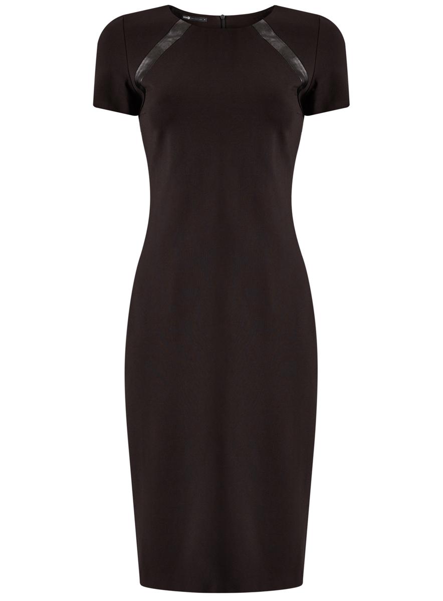 Платье oodji Collection, цвет: черный. 24011010/43060/2900N. Размер L (48)24011010/43060/2900NСтильное женское платье выполнено из комбинированного материала с отделкой из искусственной кожи застегивается на спинке на потайную застежку-молнию. Модель с короткими рукавами и круглым вырезом горловины.
