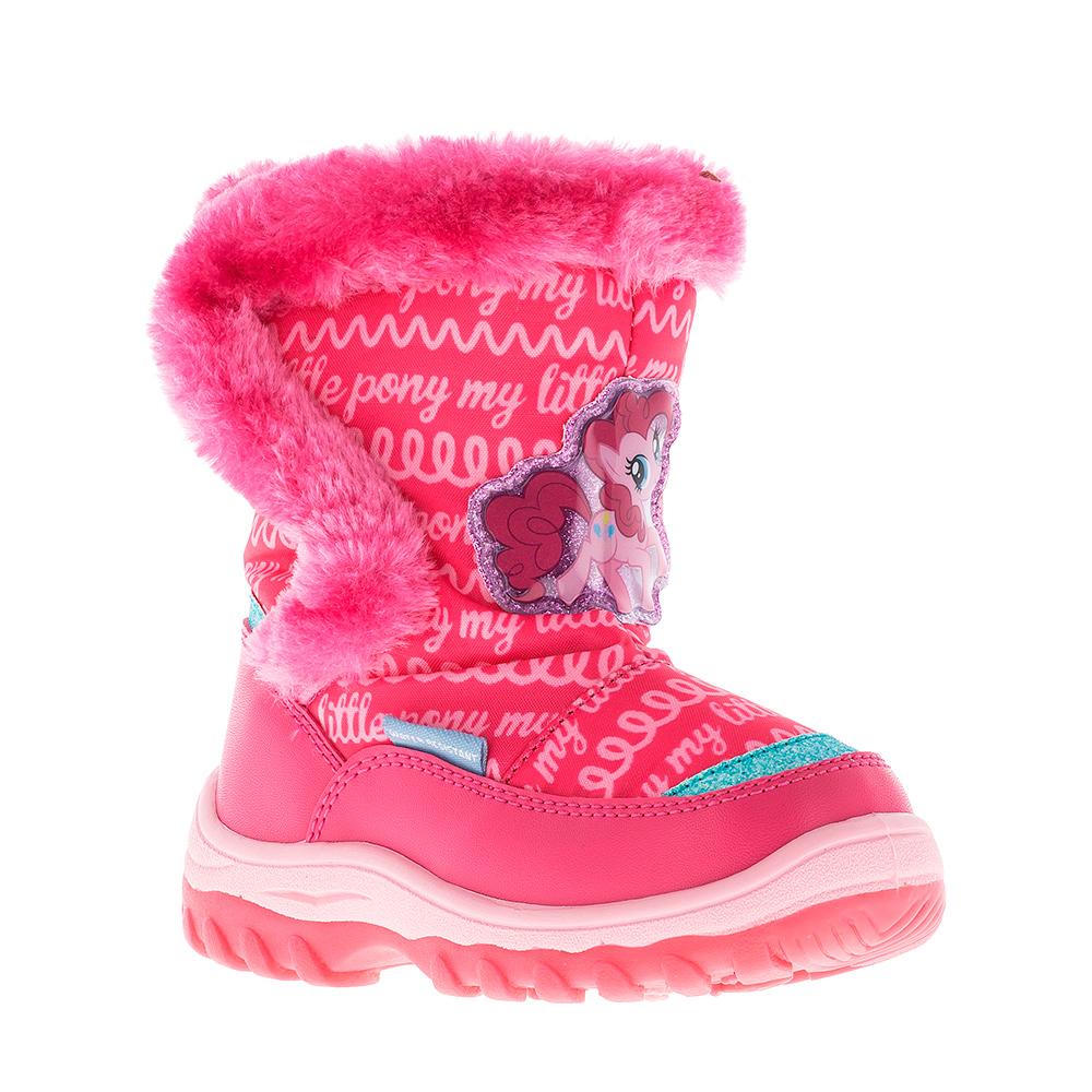Дутики для девочки Kakadu My Little Pony, цвет: розовый. 6444A. Размер 286444AДутики для девочки My Little Pony от Kakadu непременно понравится как юным модницам, так и их заботливым родителям. Модель, выполненная из текстиля и синтетической кожи по технологии Water-resistant, гарантирует непромокаемость. Укрепленные носок и пятка обладают необходимой степенью жесткости для поддержания формы на протяжении всего периода использования. Подкладка из шерсти обеспечивает ногам тепло и сухость при любых климатических условиях. Съемную стельку всегда можно вынуть или заменить. Подошва из ПВХ отличается хорошей сцепляемостью с поверхностью и высокой пружинистостью. Благодаря этим качествам дети могут совершать длительные прогулки без чувства усталости в ногах. Детские дутики оформлены ярким изображением лошадки. Застежка-липучка надежно фиксирует изделие на ноге.