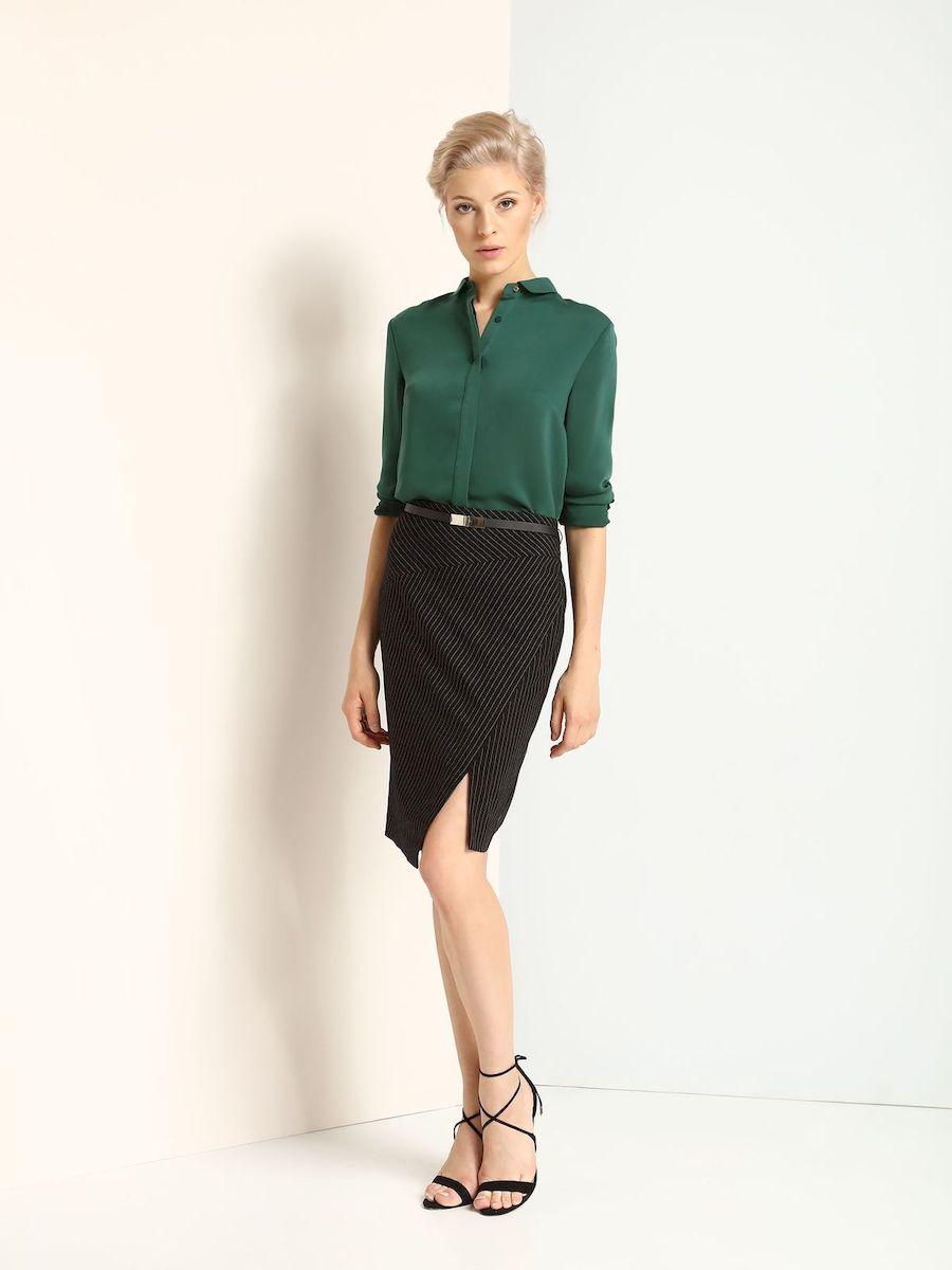 Рубашка женская Top Secret, цвет: темно-зеленый. SKL2084ZI. Размер 34 (40)SKL2084ZIЖенская рубашка выполнена из полиэстера. Модель на пуговицах,со стандартным длинным рукавом и отложным воротником. Манжеты оформлены металлическими пуговицами.