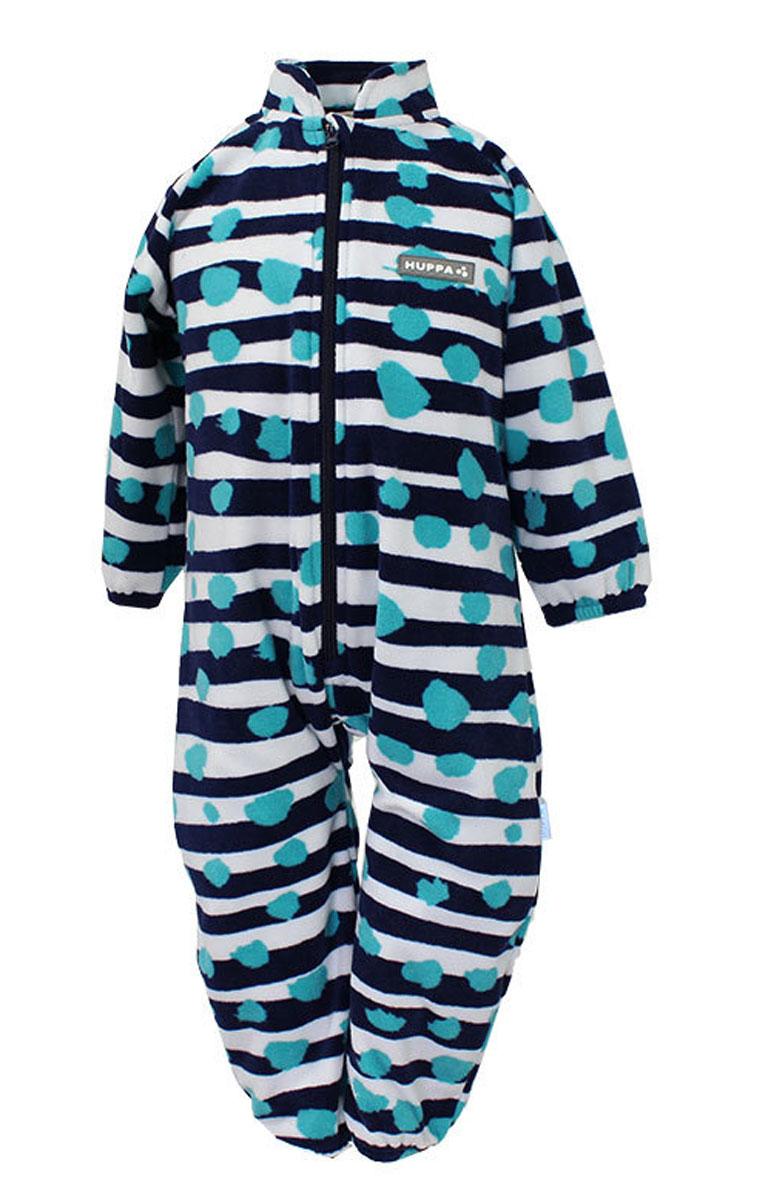Комбинезон флисовый детский Huppa Roland, цвет: темно-синий, белый, голубой. 3304BASE-63386. Размер 803304BASE-63386Детский комбинезон Huppa Roland - очень удобный и практичный вид одежды для малышей. Комбинезон выполнен из флиса, благодаря чему он необычайно мягкий и приятный на ощупь, не раздражает нежную кожу ребенка и хорошо вентилируется. Комбинезон с длинными рукавами и воротником-стойкой застегивается на пластиковую молнию с защитой подбородка. Рукава и штанины дополнены эластичными резинками. Спереди модель дополнена небольшой нашивкой с названием бренда. С детским комбинезоном спинка и ножки вашего ребенка всегда будут в тепле.