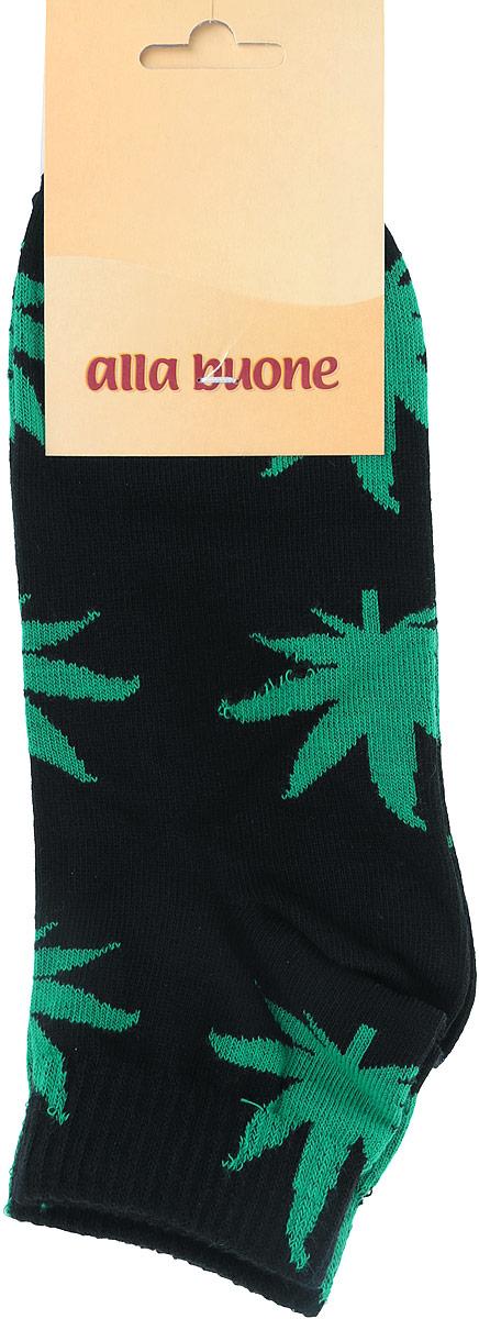 Носки женские Alla Buone, цвет: черный, зеленый. 030CD . Размер 25 (38/40)030CDУдобные носки Alla Buone, изготовленные из высококачественного комбинированного материала, очень мягкие и приятные на ощупь, позволяют коже дышать.Эластичная резинка плотно облегает ногу, не сдавливая ее, обеспечивая комфорт и удобство. Носки с укороченным паголенком оформлены контрастным принтом в виде листьев.Практичные и комфортные носки великолепно подойдут к любой вашей обуви.