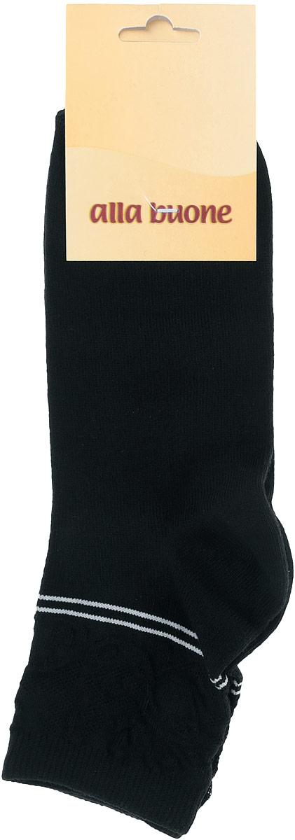 Носки женские Alla Buone, цвет: черный. CD025. Размер 25 (38-40)025CDУдобные носки Alla Buone, изготовленные из высококачественного комбинированного материала, очень мягкие и приятные на ощупь, позволяют коже дышать. Эластичная резинка плотно облегает ногу, не сдавливая ее, обеспечивая комфорт и удобство. Носки с ажурным паголенком средней длины и контрастными полосками. Практичные и комфортные носки великолепно подойдут к любой вашей обуви.