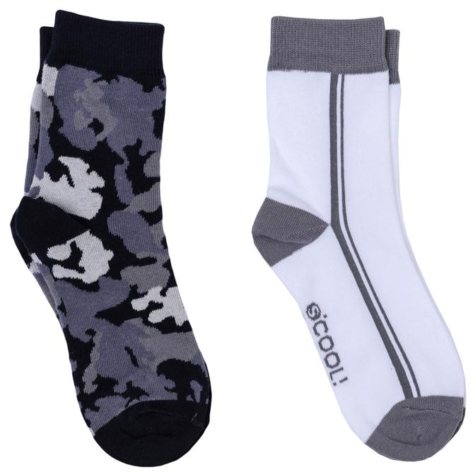 Носки для мальчика Scool, цвет: белый, серый, темно-серый, 2 пары. 363177. Размер 20363177Комплект из двух пар уютных хлопковых носков на каждый день. Мягкая и широкая резинка плотно облегает ногу, не сдавливая ее.