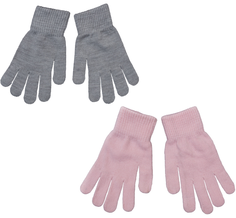 Перчатки для девочки Scool, цвет: розовый, серый. 364142. Размер 18364142Комплект из двух пар уютных перчаток, выполненных из мягкого вязаного трикотажа. Верх оформлен мягкой вязаной резинкой.