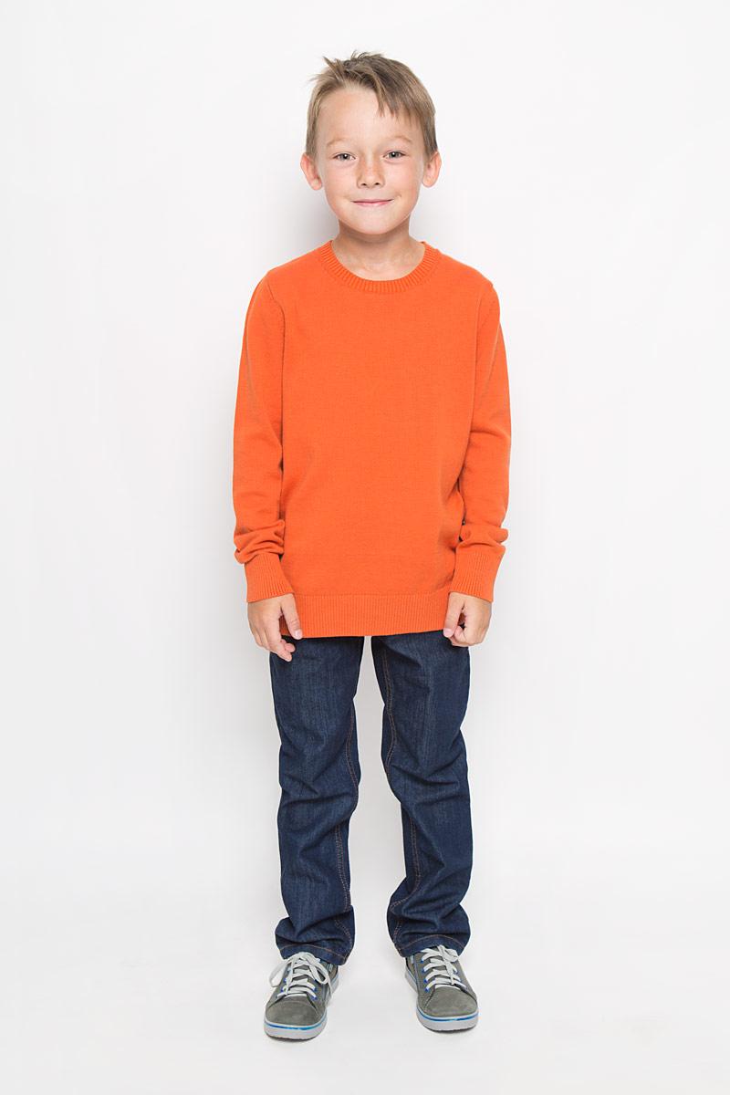 Джемпер для мальчика Sela, цвет: оранжевый. JR-814/261-6332. Размер 152, 12 летJR-814/261-6332Модный джемпер Sela, изготовленный из натурального хлопка, станет отличным дополнением к гардеробу вашего мальчика. Материал изделия приятный на ощупь, не сковывает движений и позволяет коже дышать, не раздражает даже самую нежную и чувствительную кожу ребенка, обеспечивая наибольший комфорт.Модель с круглым вырезом горловины и длинными рукавами выполнена в лаконичном стиле. Горловина, манжеты рукавов и низ джемпера связаны резинкой. Современный дизайн и расцветка делают этот джемпер стильным предметом детского гардероба. В нем вашему мальчику будет уютно и комфортно, и он всегда будет в центре внимания!