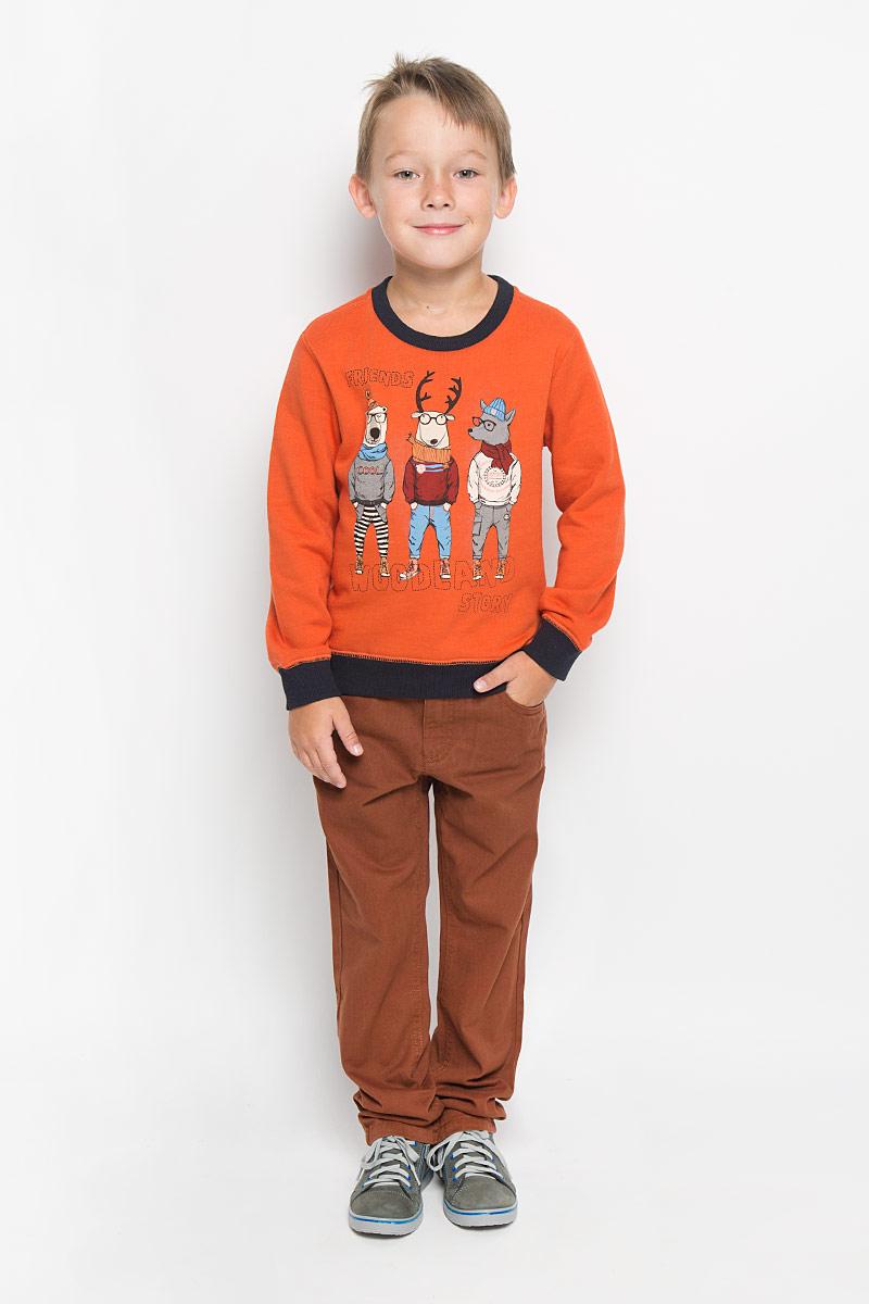 Свитшот для мальчика Sela, цвет: оранжевый. St-713/455-6414. Размер 92, 2 годаSt-713/455-6414Свитшот для мальчика Sela идеально подойдет вашему юному моднику. Изготовленный из натурального хлопка, он мягкий и приятный на ощупь, не сковывает движения и позволяет коже дышать, обеспечивая наибольший комфорт. Лицевая сторона изделия гладкая, изнаночная с мягким начесом.Модель с длинными рукавами и круглым вырезом горловины.Рукава имеют трикотажные манжеты, не стягивающие запястья. Понизу проходит широкая трикотажная резинка. Вырез горловины также дополнен трикотажной эластичной резинкой. Изделие оформлено оригинальным принтом. Современный дизайн и расцветка делают этот свитшот модным и стильным предметом детского гардероба. В нем ваш ребенок всегда будет в центре внимания!