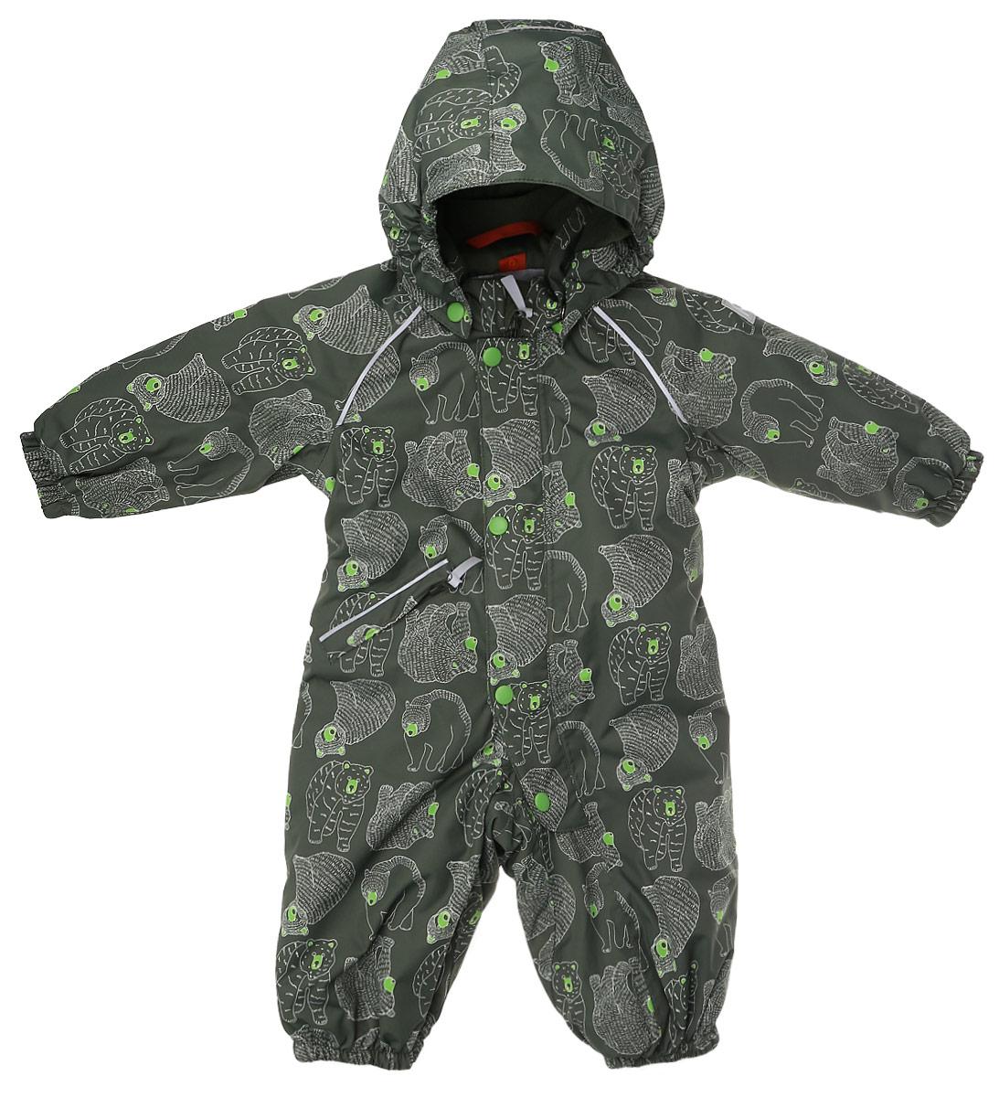 Комбинезон детский Reima Reimatec Bjorn, цвет: зеленый. 510229B-8916. Размер 74510229B-8916Детский комбинезон Reima Reimatec Bjorn со средней степенью утепления займет достойное место в гардеробе ребенка. Комбинезон изготовлен из водонепроницаемой и ветрозащитной мембранной ткани с утеплителем из синтепона (160 г). Благодаря специальной обработке полиуретаном поверхность изделия отталкивает грязь и воду, что облегчает поддержание аккуратного вида одежды. Дышащий материал хорошо пропускает воздух, обеспечивая комфорт при носке. Съемный регулируемый капюшон не только защитит в ветреный день, но и обеспечит безопасность во время игр на свежем воздухе. Комбинезонзастегивается на пластиковую молнию с защитой подбородка и дополнительно имеет ветрозащитную планку. С помощью удобной системы кнопок Play Layers® к нему можно присоединять одежду промежуточного слоя Reima®. В холодные дни промежуточный слой подарит вашему ребенку дополнительное тепло и комфорт. Спереди модель дополнена прорезным карманом, который застегивается на молнию. Благодаря дополнительно утепленной задней части брюк малыши не замерзнут, катаясь на санках и скользя в снегу. Снизу брючины собраны на эластичные резинки и дополнены съемными штрипками, одевающимися на ступню и не дающие полукомбинезону ползти вверх. Изделие оформлено светоотражающими элементами для безопасности в темное время суток. Комфортный, удобный и практичный комбинезон идеально подойдет для прогулок и игр на свежем воздухе!Температурный режим от 0°С до -20°С.