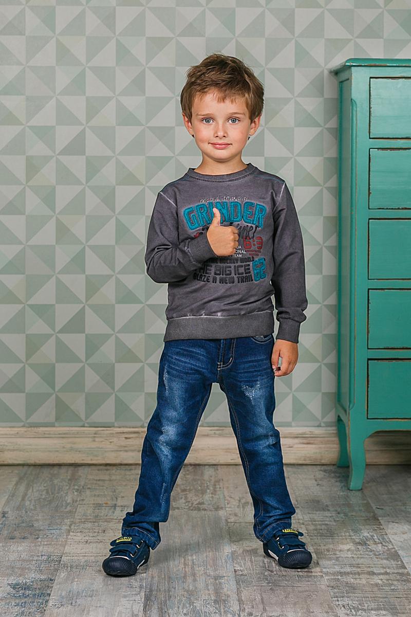 Толстовка для мальчика Sweet Berry, цвет: темно-серый. 206311. Размер 122206311Стильная толстовка Sweet Berry для мальчика выполнена из мягкого трикотажного материала. Воротник, манжеты рукавов и низ изделия выполнены из трикотажной резинки. Модель оформлена принтом и вышивкой.