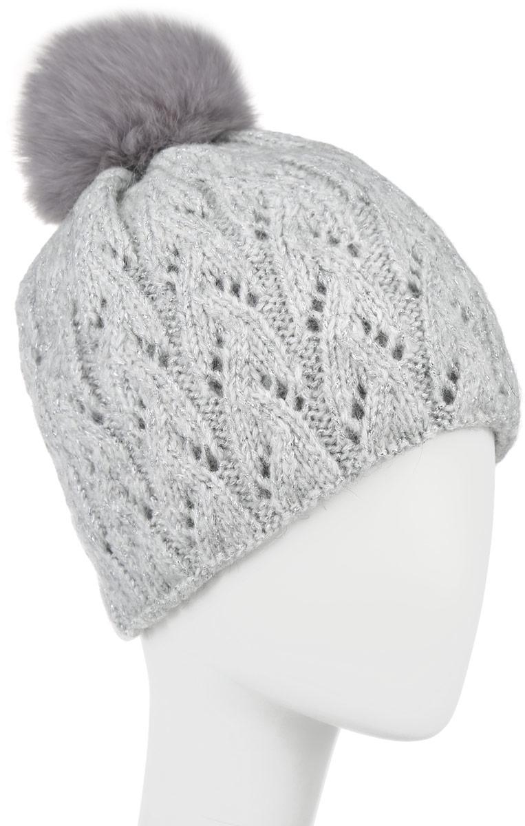 Шапка женская Baon, цвет: серый. B346530. Размер универсальныйB346530Вязаная женская шапка Baon отлично подойдет для модниц в холодное время года. Она мягкая и приятная на ощупь, обладает хорошими дышащими свойствами и максимально удерживает тепло.Красивый съемный помпон из натурального меха отлично дополняет головной убор. Изделие оформлено крупным вязаным узором, а также дополнено небольшой металлической пластиной с названием бренда.Такой стильный и теплый аксессуар подчеркнет ваш образ и индивидуальность.