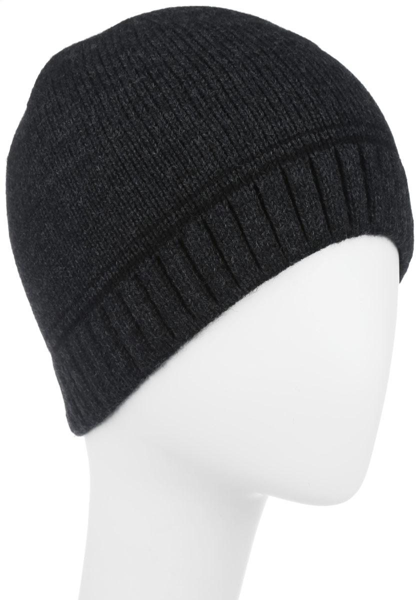 Шапка мужская Leighton, цвет: темно-серый. 5-080. Размер 59/605-080Классическая мужская шапка Leighton отлично дополнит ваш образ в холодную погоду. Сочетание шерсти и акриламаксимально сохраняет тепло и обеспечивает удобную посадку, невероятную легкость и мягкость.Шапка двойная без отворота по краю связана резинкой и оформлена контрастными полосками. Незаменимая вещь на прохладную погоду. Модель составит идеальный комплект с модной верхней одеждой, в ней вам будет уютно и тепло.