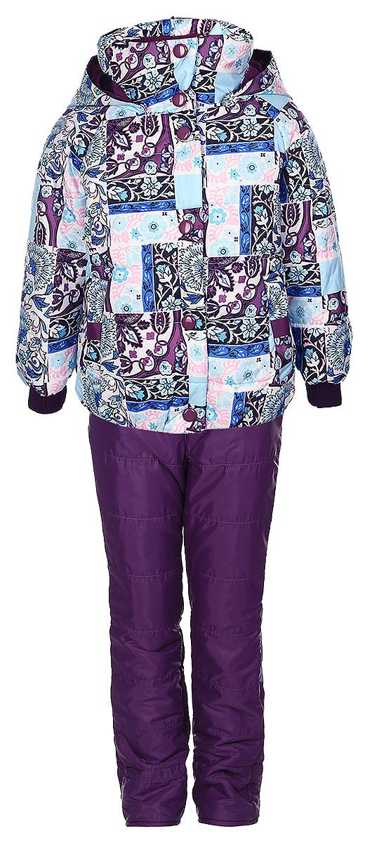 Комплект для девочки Boom!: куртка, брюки, цвет: фиолетовый, голубой, белый. 64048_BOG_вар.1. Размер 86, 1,5-2 года64048_BOG_вар.1Комплект одежды Boom!, состоящий из куртки и утепленных брюк, идеально подойдет для вашего ребенка в прохладное время года. Куртка изготовлена из 100% полиэстера. Комбинированная подкладка, выполненная из полиэстера с добавлением вискозы, приятная на ощупь. В качестве утеплителя используется синтепон - 100% полиэстер.Куртка с капюшоном и воротником-стойкой застегивается на пластиковую молнию и оснащена внешней ветрозащитной планкой на кнопках. При необходимости тонкий капюшон можно сложить и зафиксировать под воротником при помощи застежек-липучек. На рукавах предусмотрены трикотажные манжеты, которые предотвращают проникновение снега и ветра. Спереди расположены два втачных кармана. Модель дополнена светоотражающими элементами с фирменным логотипом. Куртка оформлена цветочным принтом. Брюки изготовлены из полиэстера на теплой флисовой подкладке. Модель прямого кроя на талии имеет широкий эластичный пояс. Брюки дополнены съемными эластичными наплечными лямками, регулируемыми по длине. Лямки крепятся с помощью застежек-липучек. Спереди предусмотрены два втачных кармана. Такой комплект одежды станет прекрасным дополнением к гардеробу вашего ребенка, он подарит комфорт и тепло.