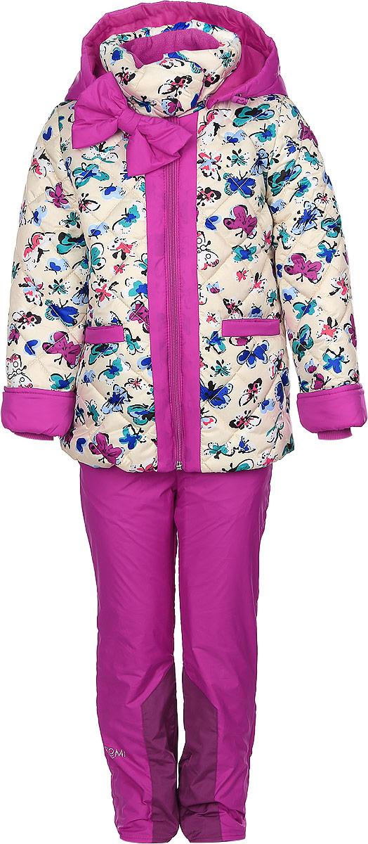 Комплект для девочки Boom!: куртка, брюки, цвет: бежевый, фуксия. 64047_BOG_вар.1. Размер 92, 1,5-2 года64047_BOG_вар.1Комплект одежды Boom!, состоящий из куртки и утепленных брюк, идеально подойдет для вашего ребенка в прохладное время года. Куртка изготовлена из 100% полиэстера. Подкладка, выполненная из полиэстера с добавлением вискозы, приятная на ощупь. В качестве утеплителя используется синтепон - 100% полиэстер.Куртка со съемным капюшоном и воротником-стойкой застегивается на пластиковую молнию и дополнительно имеет внутреннюю ветрозащитную планку. Воротник оснащен застежкой-кнопкой. Капюшон с затягивающимся шнурком со стопперами пристегивается к куртке при помощи пуговиц. На рукавах имеются трикотажные манжеты, которые предотвращают проникновение снега и ветра. По линии талии с внутренней стороны куртка дополнена затягивающимся шнурком со стопперами. Низ изделия присборен на широкую резинку. Спереди расположены два прорезных кармана. Модель оформлена принтом с изображением бабочек, украшена большим бантом. На куртке предусмотрены светоотражающие нашивки с фирменным логотипом. Брюки, изготовленные из полиэстера на флисовой подкладке, приятные на ощупь, не сковывают движения и обеспечивают наибольший комфорт. Брюки прямого кроя на талии имеют эластичный пояс с затягивающимся шнурком. Спереди предусмотрены два втачных кармана.Такой комплект одежды станет прекрасным дополнением к гардеробу вашего ребенка, он подарит комфорт и тепло.