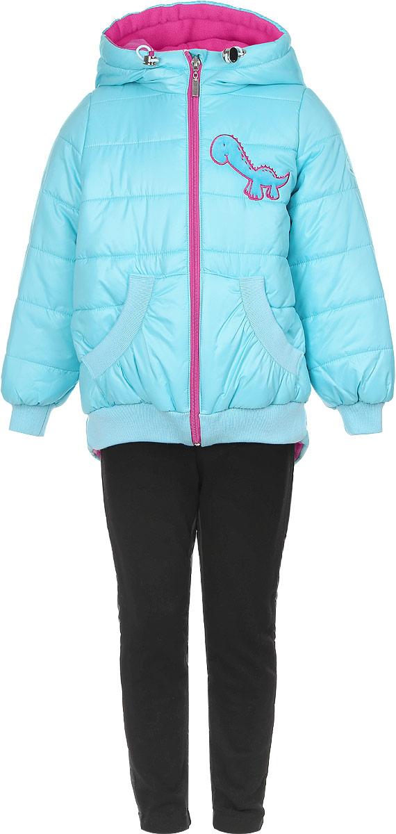 Комплект для девочки Boom!: куртка, брюки, цвет: бирюзовый, черный. 64049_BOG_вар.2. Размер 86, 1,5-2 года64049_BOG_вар.2Комплект одежды Boom!, состоящий из куртки и утепленных брюк, идеально подойдет для вашего ребенка в прохладное время года. Куртка изготовлена из 100% полиэстера. Подкладка выполнена из мягкого теплого флиса, приятная на ощупь. В качестве утеплителя используется синтепон - 100% полиэстер.Куртка с капюшоном застегивается на пластиковую молнию с защитой подбородка и имеет внутреннюю ветрозащитную планку. Несъемный капюшон дополнен затягивающимся шнурком с металлическими стопперами. На рукавах предусмотрены трикотажные манжеты, которые предотвращают проникновение снега и ветра. Спинка модели удлинена. По низу куртка дополнена трикотажными резинками. Спереди расположены два накладных кармана. Изделие украшено декоративными вставками под дракона и аппликацией в виде динозавра. На куртке предусмотрена небольшая светоотражающая нашивка с фирменным логотипом. Брюки изготовлены из разнофактурной ткани. Вставка спереди выполнена из плотного эластичного материала с начесом, сзади - из гладкого материала с тонкой прослойкой синтепона. Брюки, слегка зауженные к низу, имеют на талии широкий эластичный пояс. Такой комплект одежды станет прекрасным дополнением к гардеробу вашего ребенка, он подарит комфорт и тепло.