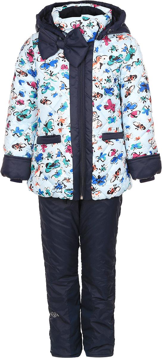 Комплект для девочки Boom!: куртка, брюки, цвет: голубой, темно-синий. 64047_BOG_вар.2. Размер 92, 1,5-2 года64047_BOG_вар.2Комплект одежды Boom!, состоящий из куртки и утепленных брюк, идеально подойдет для вашего ребенка в прохладное время года. Куртка изготовлена из 100% полиэстера. Подкладка, выполненная из полиэстера с добавлением вискозы, приятная на ощупь. В качестве утеплителя используется синтепон - 100% полиэстер.Куртка со съемным капюшоном и воротником-стойкой застегивается на пластиковую молнию и дополнительно имеет внутреннюю ветрозащитную планку. Воротник оснащен застежкой-кнопкой. Капюшон с затягивающимся шнурком со стопперами пристегивается к куртке при помощи пуговиц. На рукавах имеются трикотажные манжеты, которые предотвращают проникновение снега и ветра. По линии талии с внутренней стороны куртка дополнена затягивающимся шнурком со стопперами. Низ изделия присборен на широкую резинку. Спереди расположены два прорезных кармана. Модель оформлена принтом с изображением бабочек, украшена большим бантом. На куртке предусмотрены светоотражающие нашивки с фирменным логотипом. Брюки, изготовленные из полиэстера на флисовой подкладке, приятные на ощупь, не сковывают движения и обеспечивают наибольший комфорт. Брюки прямого кроя на талии имеют эластичный пояс с затягивающимся шнурком. Спереди предусмотрены два втачных кармана.Такой комплект одежды станет прекрасным дополнением к гардеробу вашего ребенка, он подарит комфорт и тепло.