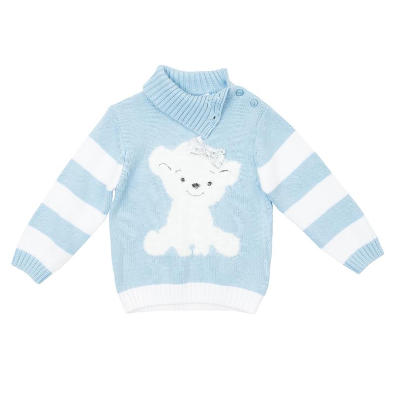 Свитер для девочки PlayToday Baby, цвет: голубой, белый. 368055. Размер 74368055Теплый свитер из мягкого вязаного трикотажа с высоким воротничком, который надежно защитит от ветра, оформлен объемным рисунком с медвежонком и бантиком с серебристыми пайетками. Воротник, рукава и низ изделия выполнены из широкой вязаной резинки. На плече и воротнике предусмотрены пуговицы для легкого переодевания ребенка.