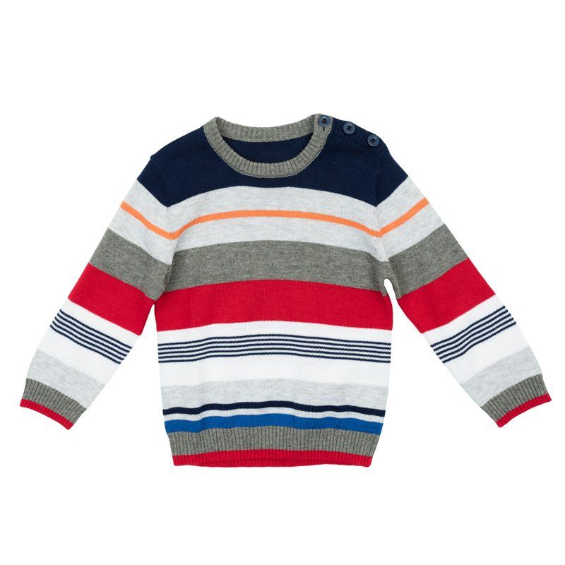 Джемпер для мальчика PlayToday Baby, цвет: белый, красный, синий. 367056. Размер 86367056Уютный джемпер для мальчика изготовлен из вязаного трикотажа и оформлен стильным узором в разнокалиберную полоску. Воротник, рукава и низ изделия связаны мягкой резинкой. На плече предусмотрены пуговицы для легкого переодевания ребенка.