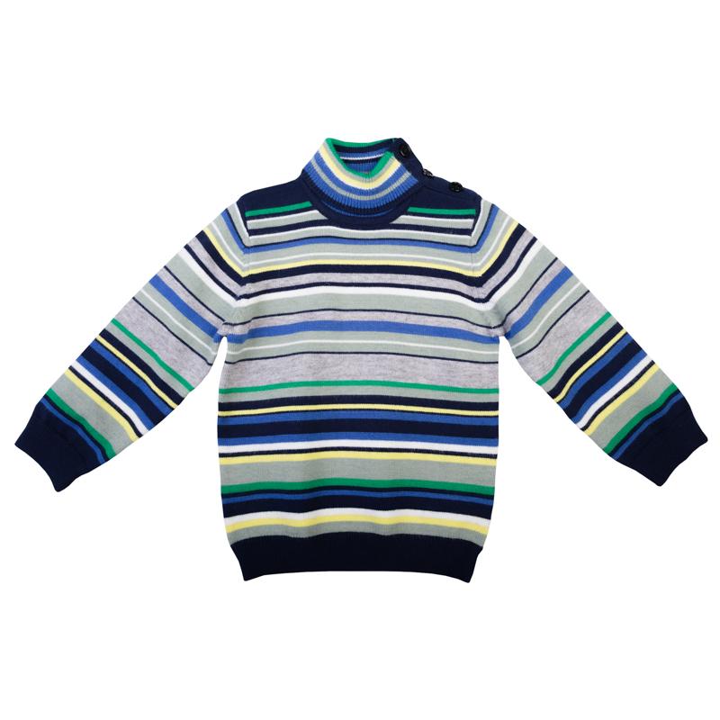 Свитер для мальчика PlayToday Baby, цвет: серый, синий, зеленый. 367007. Размер 92367007Уютный свитер для мальчика изготовлен из вязаного трикотажа. Модель с воротником-стойкой, надежно защищающим от ветра, оформлена стильным узором в разнокалиберную полоску. Воротник, рукава и низ изделия связаны мягкой резинкой. Свитер застегивается на кнопки на плече и воротнике для легкого переодевания ребенка.