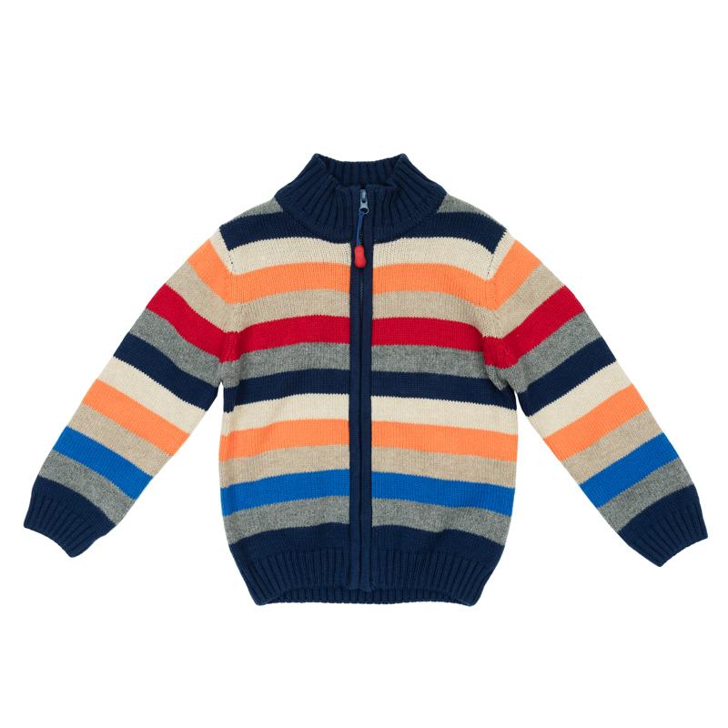 Кофта для мальчика PlayToday Baby, цвет: синий, серый, красный, оранжевый. 367055. Размер 86367055Теплая кофта для мальчика изготовлена из вязаного трикотажа с узором в разноцветную полоску. Модель с воротником-стойкой, надежно защищающим от ветра, застегивается на молнию с фигурным резиновым пуллером. Воротник, манжеты рукавов и низ кофты связаны широкой резинкой. Яркий цвет модели позволяет создавать стильные образы.