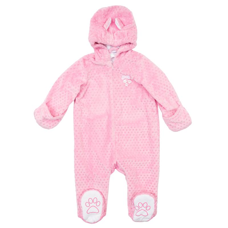 Комбинезон для девочкиPlayToday Newborn, цвет: розовый. 368801. Размер 56368801Уютный комбинезон для девочки выполнен из искусственного меха с хлопковой подкладкой и оформленфактурным узором в горошек. Комбинезон с капюшоном, длинными рукавами и закрытыми ножками застегивается на потайную молнию спереди. На капюшоне мягкая трикотажная резинка, рукава дополнены отворотами-антицарапками. Хлопковая подкладка обеспечивает дополнительное удобство - можно не надевать первый слой одежды. Комбинезон украшен декоративными пуговками, бантиком и ушками на капюшоне. На подошве носочков принт в виде лапок.