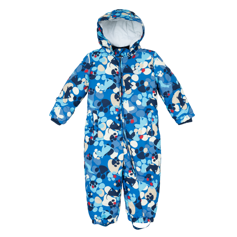 Комбинезон утепленный для мальчика PlayToday Baby, цвет: голубой, синий, белый. 367052. Размер 74367052Уютный теплый комбинезон с капюшоном и светоотражателями оформлен забавным принтом - собачками и собачьими следами. Стеганая велюровая подкладка обеспечивает дополнительное удобство и удерживает тепло. Комбинезон застегивается на молнию и дополнен двумя прорезными карманами на кнопках. Рукава и низ брючин собраны на резинку, имеются штрипки на пуговицах, позволяющие закреплять комбинезон под обувью. Капюшон отстегивается.