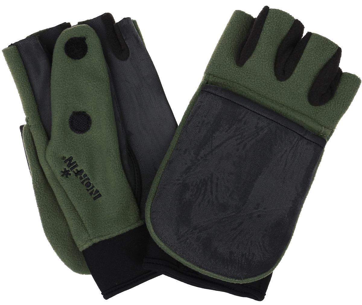 Перчатки-варежки мужские Norfin Windproof, цвет: черный, оливковый. 703056-L. Размер L (9)703056Перчатки-варежки Norfin Windproof защитят ваши руки. Они хорошо сохраняют тепло, мягкие, идеально сидят на руке. Перчатки-варежки в области ладони и с внутренней стороны большого пальца выполнены из водоотталкивающего материала, верх выполнен из флиса. Изделие представляет собой перчатки без пальцев, к внешней стороне которых крепится капюшон, накинув его на пальцы, перчатки превращаются в варежки. На большом пальце имеется отверстие. Капюшон фиксируется на перчатке при помощи липучки.
