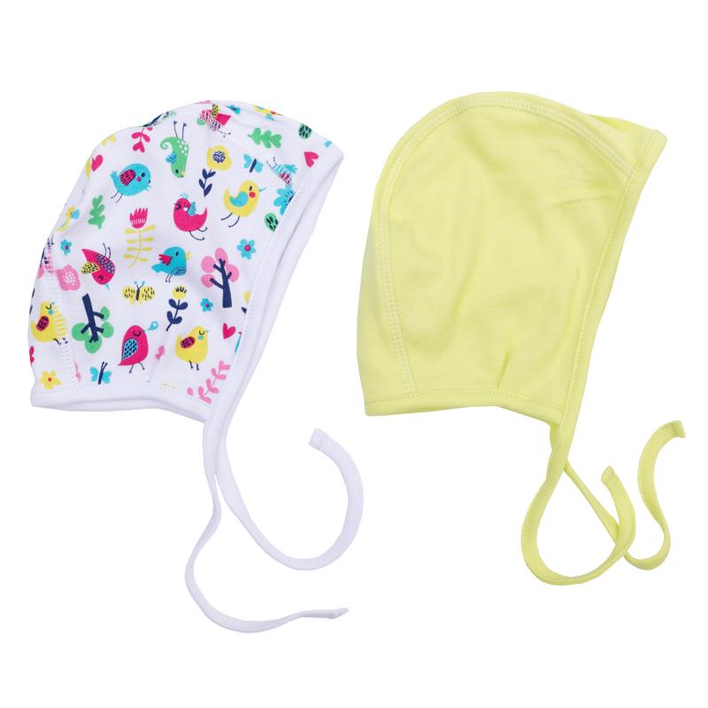 Чепчик для девочки PlayToday Newborn, 2 шт, цвет: салатовый, белый. 368824. Размер 42368824Комплект состоит из двух чепчиков для девочки, выполненных из натурального хлопка. Модели с удобными завязками можно использовать как первый слой в комбинации с вязаными шапками.
