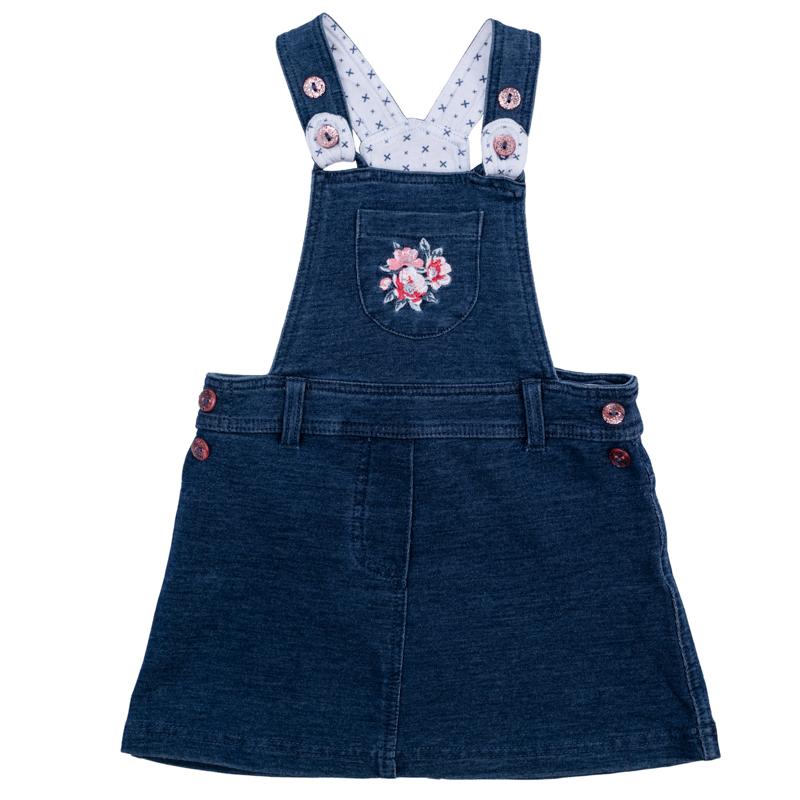 Сарафан для девочки PlayToday Baby, цвет: синий деним. 368015. Размер 74368015Уютный сарафан для девочки выполнен из мягкого футера с имитацией джинсовой ткани. На поясе имеются шлевки для ремня и имитация пуговиц по бокам. Бретели регулируются по длине и застегиваются на блестящие розовые пуговицы. На груди сарафан дополнен маленьким накладным кармашком с нежной цветочной вышивкой. Универсальный цвет позволяет сочетать модель с любой одеждой.