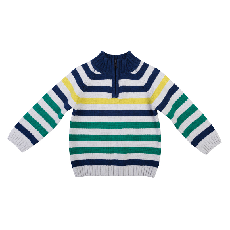 Свитер для мальчика PlayToday Baby, цвет: синий, желтый, зеленый, белый. 367006. Размер 74367006Теплый свитер для мальчика выполнен из вязаного трикотажа. Высокий воротник-стойка, который надежно защитит от ветра, застегивается на молнию до груди, что облегчает переодевание ребенка.Универсальный цвет с узором в полоску позволяет сочетать модель с любой одеждой. Воротник, рукава и низ изделия выполнены из широкой вязаной резинки.