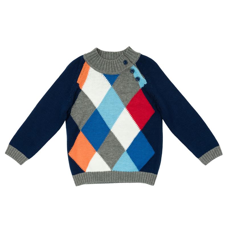 Свитер для мальчика PlayToday Baby, цвет: синий, серый, красный, оранжевый, белый. 367053. Размер 80367053Теплый свитер из мягкого вязаного трикотажа с высоким воротничком, который надежно защитит от ветра, оформлен узором в виде цветныхромбов. Воротник, рукава и низ изделия выполнены из широкой вязаной резинки. На плече предусмотрены две пуговицы для легкого переодевания ребенка.