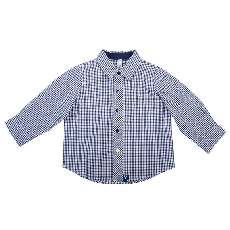 Рубашка для мальчика PlayToday Baby, цвет: белый, темно-синий. 367012. Размер 74367012Стильная сорочка для мальчика изготовлена из натурального хлопка в мелкую клетку и дополнена контрастными желтыми кнопками на планке и манжетах. Классическая модель с отложным воротником и длинными рукавами застегивается на кнопки. На манжетах также имеются застежки-кнопки.