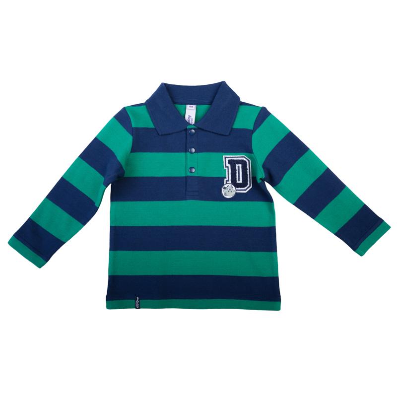 Поло для мальчика PlayToday Baby, цвет: темно-синий, зеленый. 367019. Размер 74367019Стильная полосатая футболка-поло с длинными рукавами выполнена из мягкого органического хлопка и оформлена петельной вышивкой в стиле 3D. Классический отложной воротничок застегивается на 3 пуговицы. Универсальное цветовое сочетание позволяет комбинировать модель с любой одеждой.
