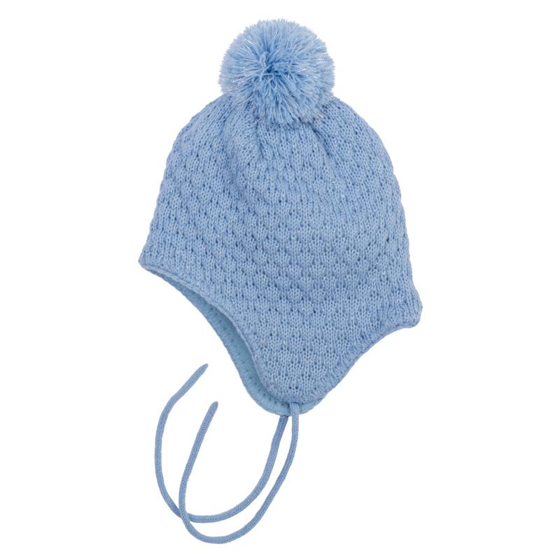 Шапка для девочки PlayToday Baby, цвет: голубой. 368079. Размер 46368079Мягкая и уютная шапка для девочки выполнена из вязаного трикотажа с люрексной нитью, придающей мерцающий эффект. Модель с удлиненными боковыми частями, надежно защищающими от ветра, оформлена фактурной вязкой и помпоном. Мягкая флисовая подкладка держит тепло и обеспечивает дополнительное удобство, а завязки позволяют плотно закрепить модель на голове.Уважаемые клиенты! Обращаем ваше внимание на тот факт, что размер, доступный для заказа, является обхватом головы.