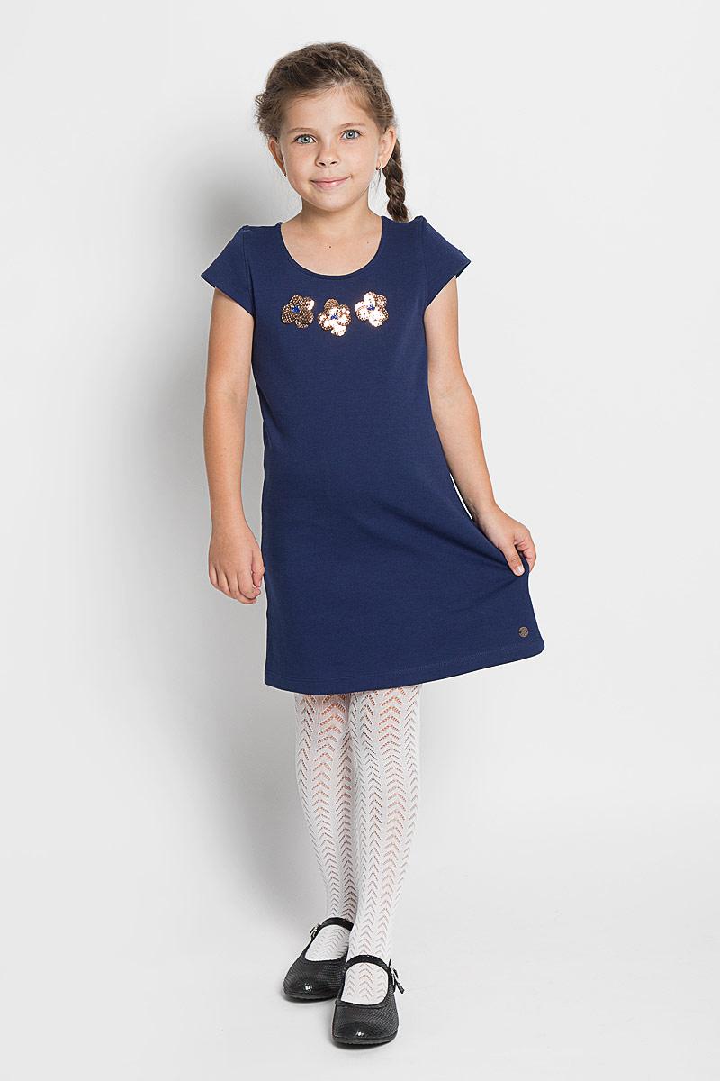 Платье для девочки Tom Tailor, цвет: синий. 5019152.40.81_6814. Размер 116/1225019152.40.81_6814Стильное платье для девочки Tom Tailor, изготовленное из высококачественного материала, оно необычайно мягкое и приятное на ощупь, не сковывает движения и позволяет коже дышать, не раздражает даже самую нежную и чувствительную кожу ребенка, обеспечивая ему наибольший комфорт.Платье с круглым вырезом горловины и короткими рукавами. Изделие дополнено небольшой аппликацией из пайеток. В таком платье маленькая принцесса всегда будет в центре внимания!