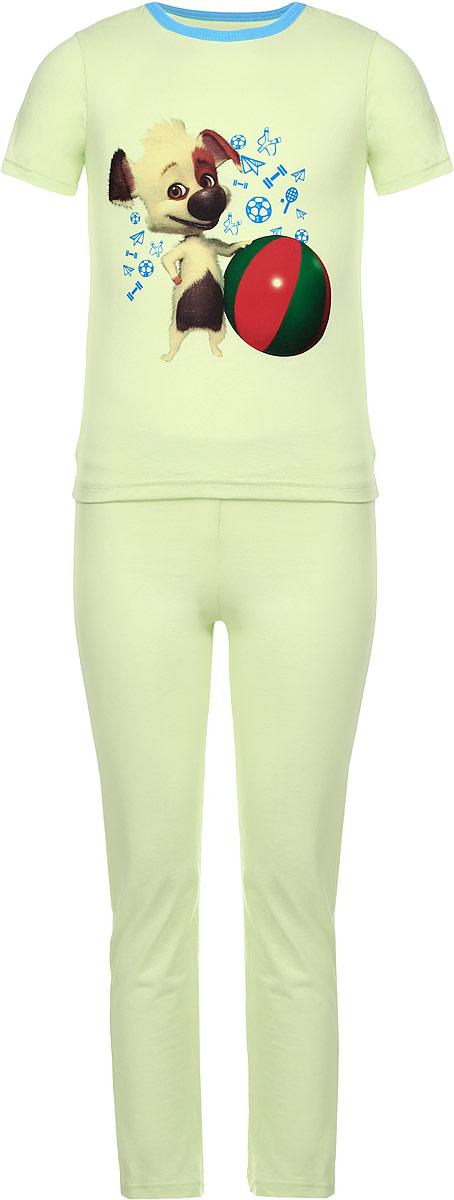 Пижама детская КотМарКот, цвет: светло-зеленый. 16506. Размер 104, 4 года16506Пижама КотМарКот, состоящая из футболки с коротким рукавом и брюк, идеально подойдет ребенку для отдыха и сна. Модель выполнена из натурального хлопка, очень приятная к телу, не сковывает движения, хорошо пропускает воздух. Футболка с короткими рукавами имеет круглый вырез горловины, оформленный трикотажной резинкой контрастного цвета. Изделие украшено принтом с изображением персонажа мультфильма Белка и Стрелка. Озорная семейка. Брюки прямого кроя имеют на талии мягкую резинку, благодаря чему они не сдавливают животик ребенка и не сползают.В такой пижаме ребенок будет чувствовать себя комфортно и уютно!