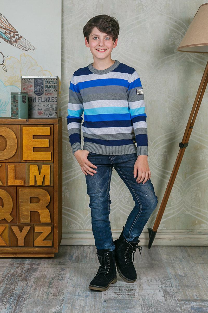 Джемпер для мальчика Luminoso, цвет: серый. 206704. Размер 152206704Джемпер для мальчика Luminoso выполнен из натурального хлопка. Модель с круглым вырезом горловины и длинными рукавами оформлена принтом в полоску.