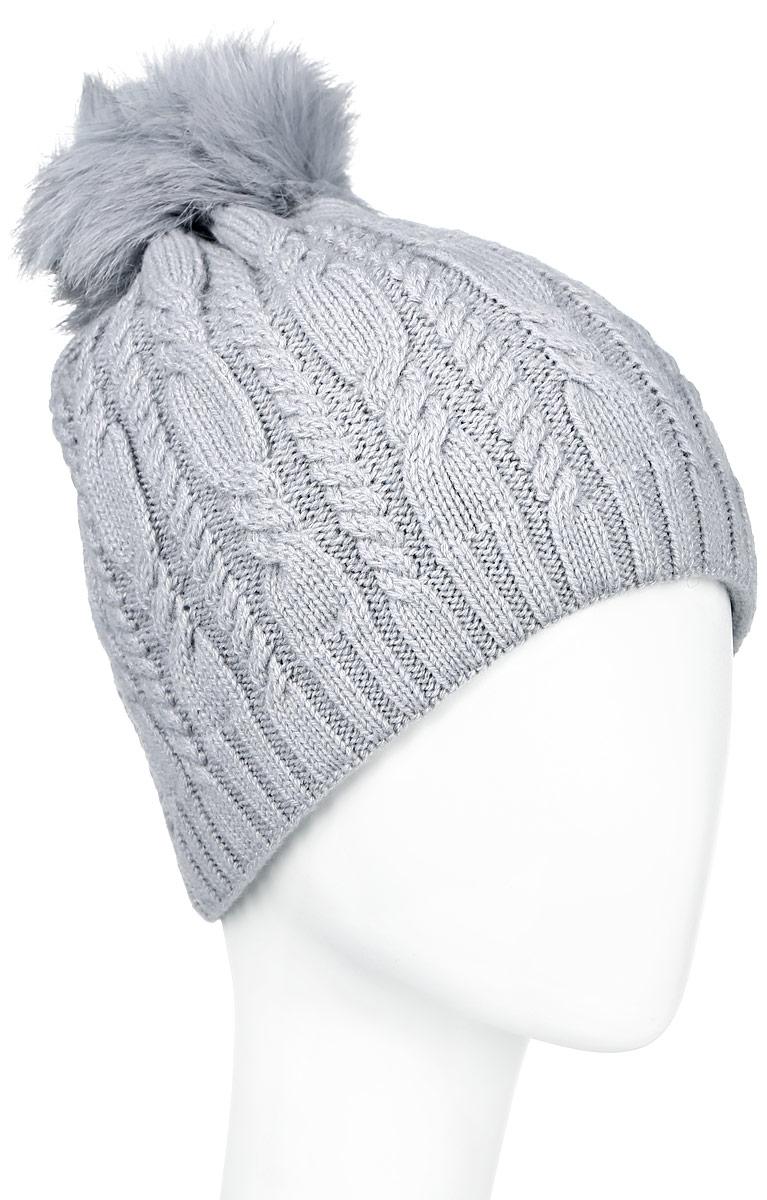 Шапка женская Finn Flare, цвет: светло-серый. A16-11152_211. Размер 56A16-11152_211Стильная женская шапка Finn Flare дополнит ваш наряд и не позволит вам замерзнуть в холодное время года. Шапка выполнена из высококачественной, комбинированной пряжи, что позволяет ей великолепно сохранять тепло и обеспечивает высокую эластичность и удобство посадки. Изделие дополнено теплой флисовой подкладкой.Модель оформлена оригинальным узором и дополнена пушистым помпоном из меха песца. Такая шапка станет модным и стильным дополнением вашего гардероба. Она согреет вас и позволит подчеркнуть свою индивидуальность! Уважаемые клиенты!Размер, доступный для заказа, является обхватом головы.
