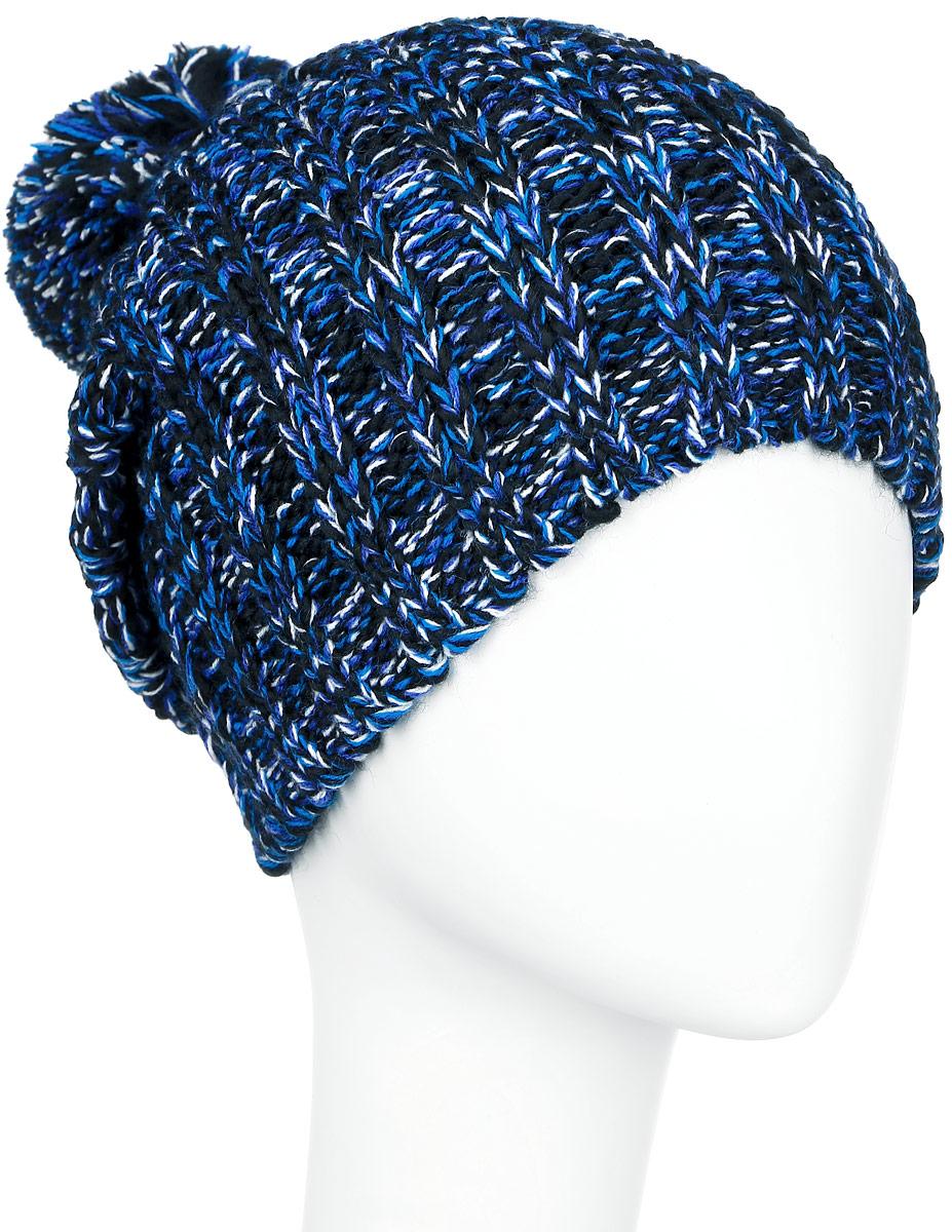 Шапка женская Finn Flare, цвет: синий, черный, белый. A16-32121_101. Размер 56A16-32121_101Стильная женская шапка Finn Flare дополнит ваш наряд и не позволит вам замерзнуть в холодное время года.Шапка выполнена из высококачественной, комбинированной пряжи, что позволяет ей великолепно сохранять тепло и обеспечивает высокую эластичность и удобство посадки. Изделие дополнено теплой флисовой подкладкой. Модель с удлиненной макушкой оформлена оригинальным узором и дополнена пушистым помпоном. Такая шапка станет модным и стильным дополнением вашего гардероба. Она согреет вас и позволит подчеркнуть свою индивидуальность!Уважаемые клиенты!Размер, доступный для заказа, является обхватом головы.