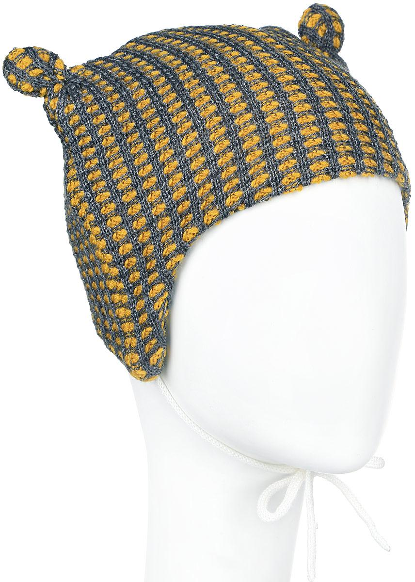 Шапка детская Reima Torkku, цвет: горчичный, серый. 518379-2320. Размер 40518379_2320Стильная легкая шапка Reima Torkku идеально подойдет для прогулок.Благодаря вязке из теплой шерстяной смеси в сочетании с мягкой флисовой подкладкой на внутренней стороне, эта шапочка подходит для ежедневного использования. Изделие великолепно тянется и удобно сидит. Декорирована шапка двумя ушками. Низ шапки дополнен завязками, с помощью которых шапку можно зафиксировать под подбородком. Сбоку модель дополнена логотипом бренда. Удобная шапка станет модным и стильным дополнением гардероба вашего ребенка, надежно защитит его от холода и ветра, и поднимет ему настроение даже в пасмурные дни! Уважаемые клиенты!Размер, доступный для заказа, является обхватом головы.