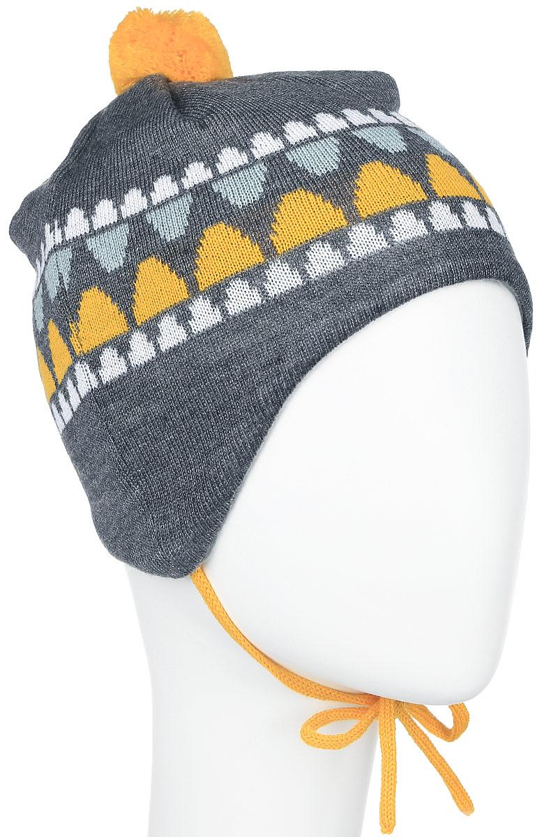 Шапка детская Reima Unonen, цвет: серый, желтый. 518378-2320. Размер 36518378_2320Очаровательная шапка Reima Unonen идеально подойдет для прогулок. Изготовленная из шерсти и акрила, она обладает хорошими дышащими свойствами и хорошо удерживает тепло. Шапка на макушке декорированапомпоном, а также дополнена завязками. Ветронепроницаемые вставки в области ушей защищают от холодного ветра, а мягкая подкладка из флиса приятна чувствительной детской коже. Сбоку модель дополнена нашивкой с логотипом бренда. Такая шапка станет модным и стильным предметом детского гардероба. Она улучшит настроение даже в хмурые холодные дни! Уважаемые клиенты!Размер, доступный для заказа, является обхватом головы ребенка.