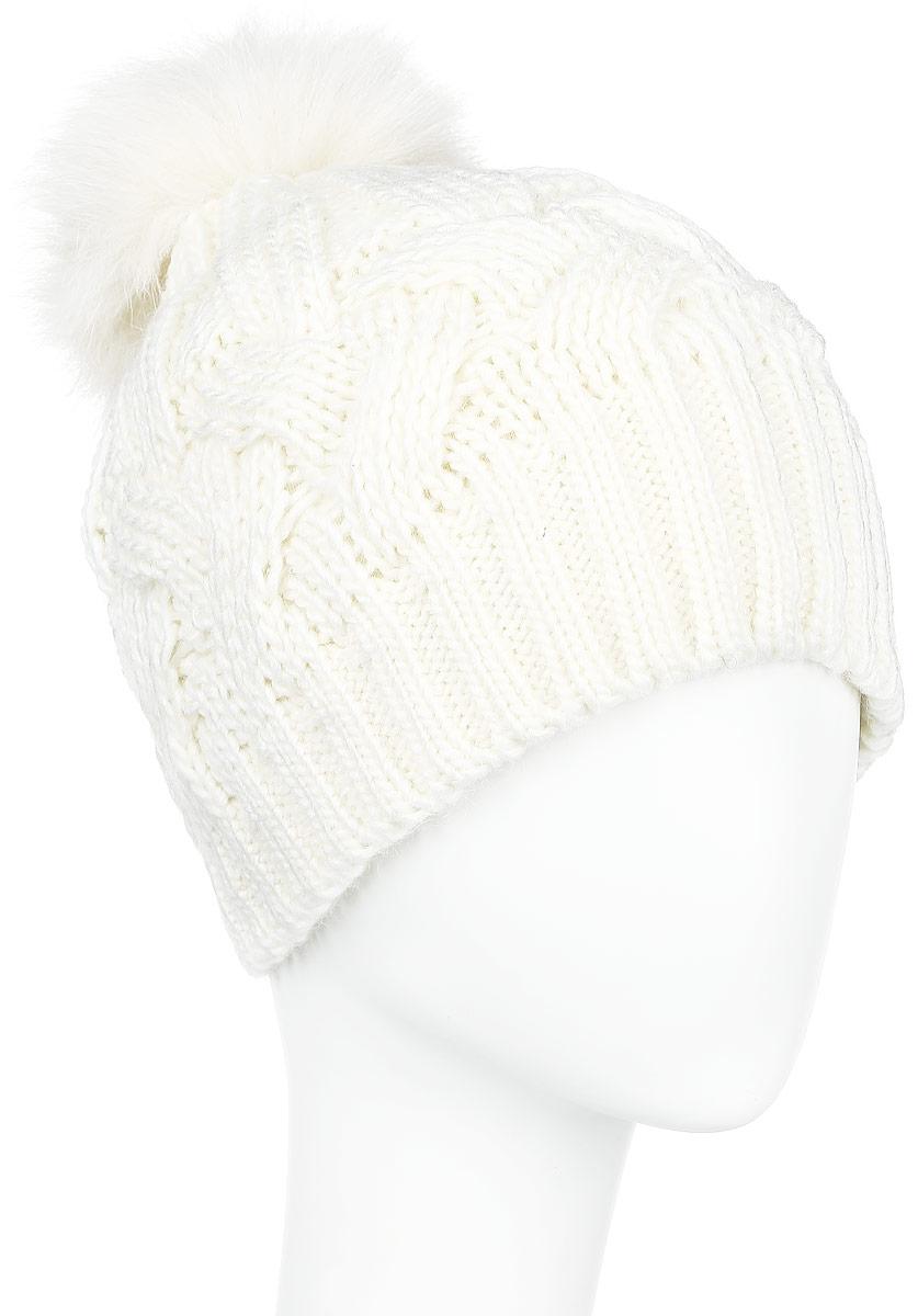 Шапка женская Finn Flare, цвет: молочный. A16-12135_201. Размер 56A16-12135_201Стильная женская шапка Finn Flare дополнит ваш наряд и не позволит вам замерзнуть в холодное время года. Шапка выполнена из высококачественной, комбинированной пряжи, что позволяет ей великолепно сохранять тепло и обеспечивает высокую эластичность и удобство посадки. Изделие дополнено теплой флисовой подкладкой.Модель оформлена оригинальным узором и дополнена пушистым помпоном из меха песца. Такая шапка станет модным и стильным дополнением вашего гардероба. Она согреет вас и позволит подчеркнуть свою индивидуальность!