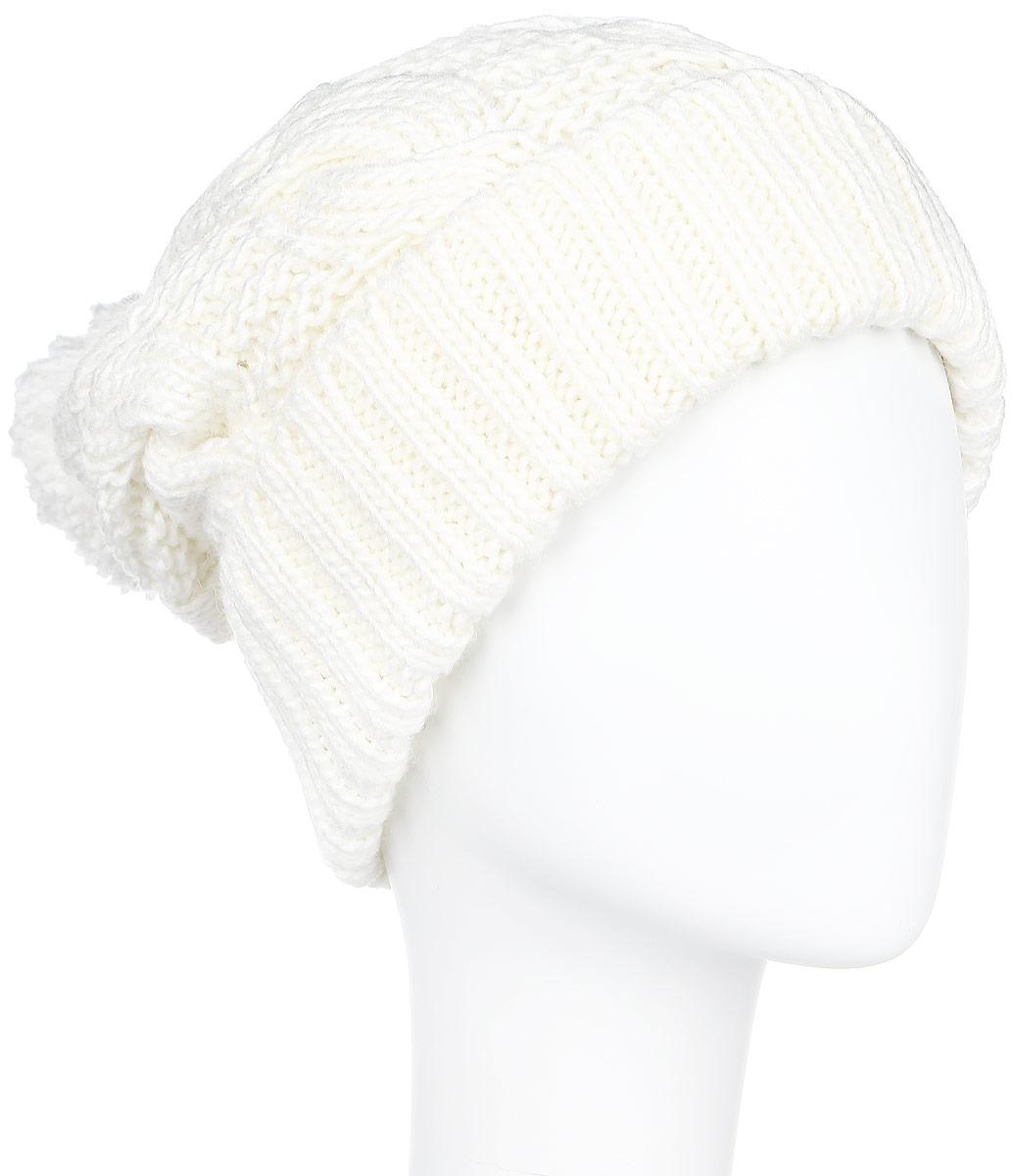 Шапка женская Finn Flare, цвет: молочный. A16-32124_201. Размер 56A16-32124_201Стильная женская шапка Finn Flare дополнит ваш наряд и не позволит вам замерзнуть в холодное время года. Шапка выполнена из высококачественной, комбинированной пряжи, что позволяет ей великолепно сохранять тепло и обеспечивает высокую эластичность и удобство посадки. Изделие дополнено теплой флисовой подкладкой.Модель с удлиненной макушкой оформлена оригинальным узором и дополнена пушистым помпоном. Такая шапка станет модным и стильным дополнением вашего гардероба. Она согреет вас и позволит подчеркнуть свою индивидуальность! Уважаемые клиенты!Размер, доступный для заказа, является обхватом головы.