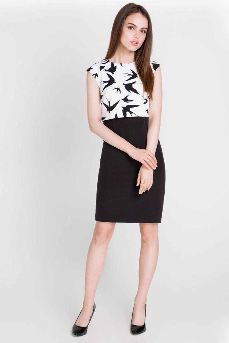 Платье Concept Club Aurely, цвет: черный, молочный. 10200200171_100. Размер L (48)10200200171_100Платье Concept Club Aurely выполнено из полиэстера с добавлением эластана. Лиф изделия дополнен подкладкой из 100% полиэстера. Платье-миди с круглым вырезом горловины и короткими рукавами-реглан застегивается на потайную застежку-молнию расположенную в среднем шве спинки. Лиф платья оформлен рисунком в виде ласточек.