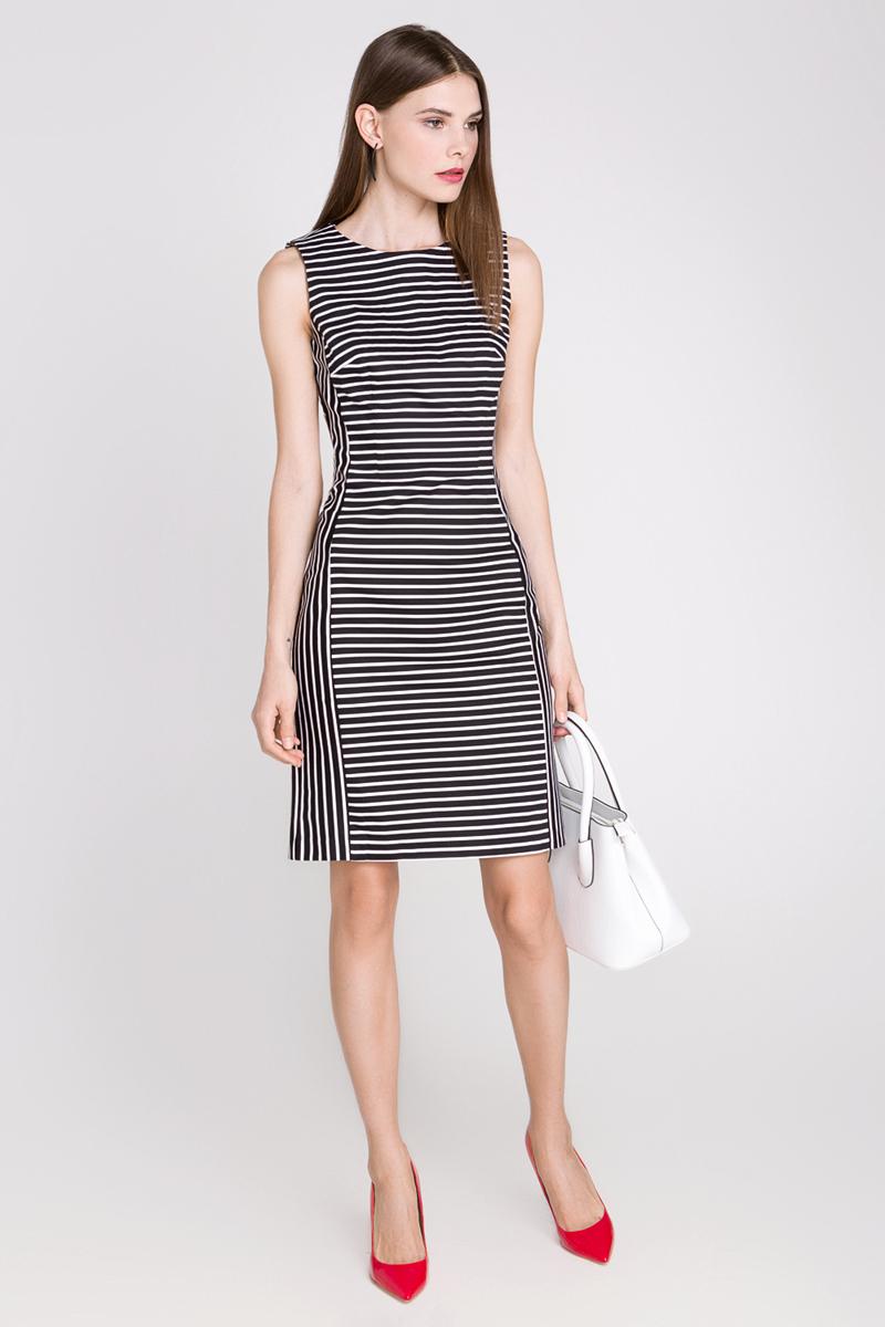 Платье Concept Club Louis, цвет: черный, молочный. 10200200164_3500. Размер L (48)10200200164_3500Платье Concept Club Louis выполнено из хлопка с добавлением эластана. Платье-миди с круглым вырезом горловины застегивается на потайную застежку-молнию расположенную в среднем шве спинки. Сзади расположена шлица. Платье оформлена принтом в полоску.