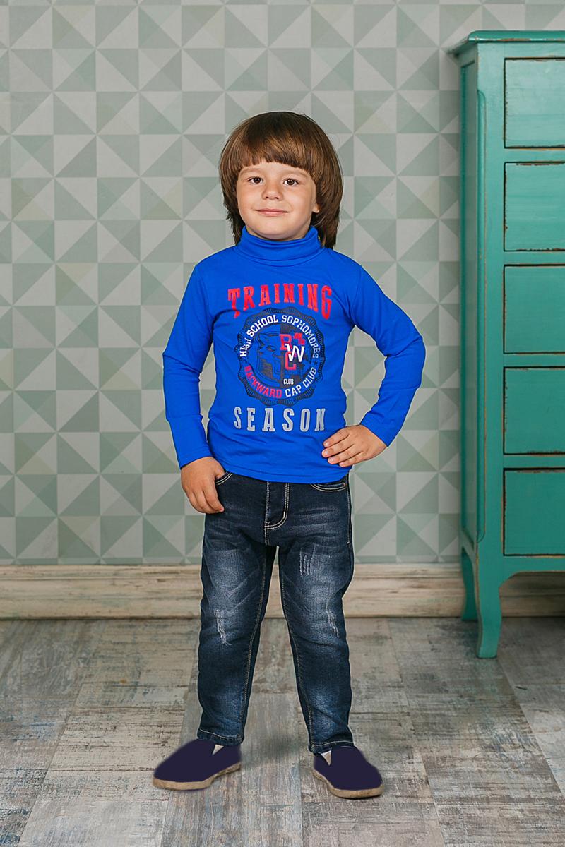 Водолазка для мальчика Sweet Berry, цвет: синий. 206163. Размер 80206163Водолазка для мальчика Sweet Berry изготовлена из хлопка с добавлением эластана и оформлена оригинальным принтом. Высокий воротник надежно защищает от ветра. Базовая модель позволяет создавать стильные образы.