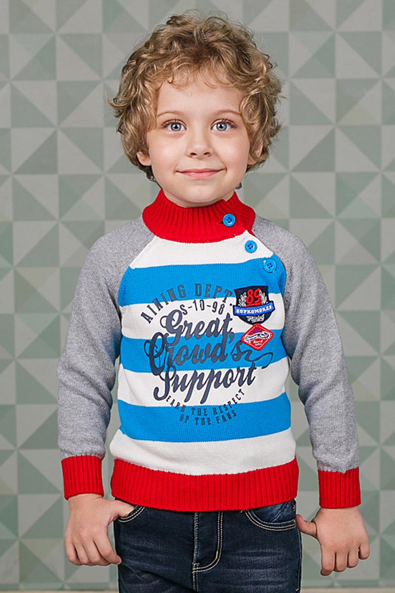 Джемпер для мальчика Sweet Berry, цвет: серый, красный, голубой. 206155. Размер 80206155Джемпер Sweet Berry для мальчика изготовлен из вязаного трикотажа и оформлен принтом. Модель с воротником-стойкой, надежно защищающим от ветра, застегивается сбоку на пуговицы. Воротник, манжеты и низ кофты связаны резинкой.