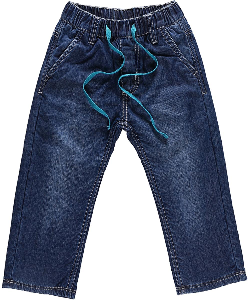 Джинсы для мальчика Sweet Berry, цвет: темно-синий. 206128. Размер 80206128Утепленные джинсы Sweet Berry для мальчика с эффектом потертости выполнены из высококачественного материала. Джинсы прямого кроя и стандартной посадки на талии дополнены эластичной резинкой и кулиской. На поясе имеются шлевки для ремня. Модель оформлена спереди двумя карманами с косыми срезами, а сзади двумя накладными карманами.