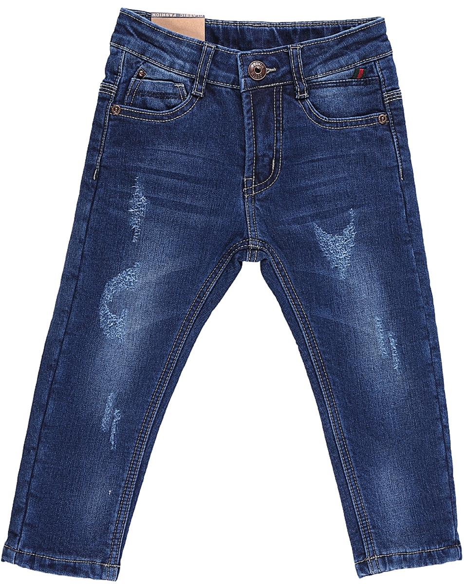 Джинсы для мальчика Sweet Berry, цвет: темно-синий. 206150. Размер 80206150Утепленные джинсы Sweet Berry для мальчика с эффектом потертости выполнены из высококачественного материала. Джинсы прямого кроя и стандартной посадки на талии застегиваются на пуговицу и имеют ширинку на застежке-молнии. На поясе имеются шлевки для ремня. Модель представляет собой классическую пятикарманку: два втачных и один маленький накладной кармашек спереди и два накладных кармана сзади.