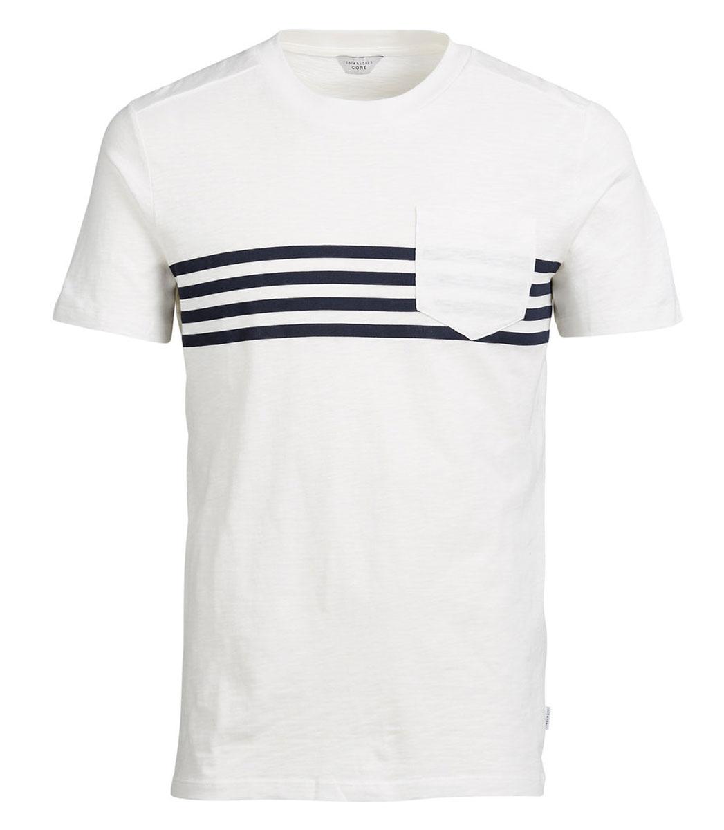 Футболка мужская Jack & Jones, цвет: молочный. 12110008. Размер L (48)12110008_Blanc de BlancСтильная мужская футболка Jack & Jones, выполненная из хлопка и полиэстера, обладает высокой теплопроводностью, воздухопроницаемостью и гигроскопичностью. Она необычайно мягкая и приятная на ощупь, не сковывает движения и превосходно пропускает воздух. Такая футболка превосходно подойдет как для занятий спортом, так и для повседневной носки.Модель с короткими рукавами и круглым вырезом горловины - идеальный вариант для создания модного современного образа. Футболка оформлена контрастными полосками и дополнена небольшим нагрудным кармашком. Эта модель подарит вам комфорт в течение всего дня и послужит замечательным дополнением к вашему гардеробу.